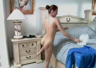 Tiny-titted ginger-head female demonstrates their way taking body and sucks dick
