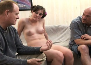 Chubby dark brown wench gets will not hear of holes drilled during a threesome