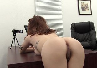 Spit the desk increased by drilled her hairy ass