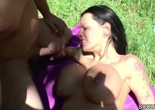 German Monster Tit MILF acquire fuck Alfresco by two Young Boys