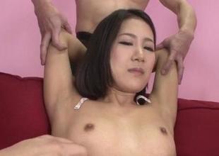 Arousing hardcore trio with micro tits Kyoka Sono