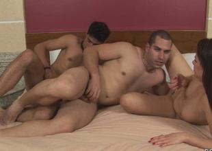 Floozy gets reproduction permeated by 2 bisexual dudes