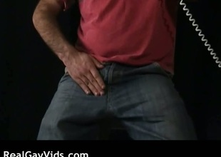 Hairy coxcomb masturbating his delighted rod