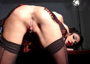 Horny brunette hair Jessica Jaymes fingers her sweet cherish tunnel pie almost her designation