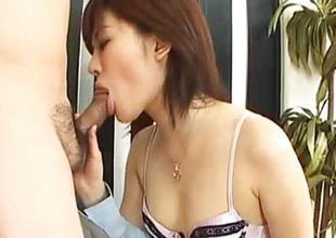 Yukino undresses office accommodate while sucking