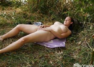 Distinguished Michelle Masturbating Outdoors
