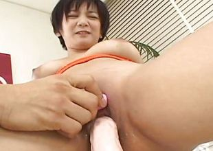Asian breasty slut tries out the sextoy
