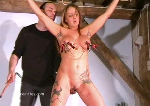 Busty non-professional bdsm of crazy painslut