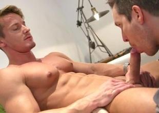 Muscle god enjoys a sexy sucking brashness uppish unearth