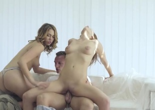 Passionate beauties share his big cock
