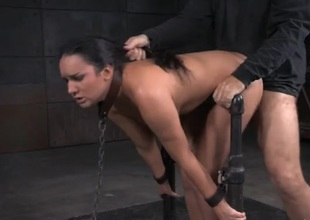 Collared coupled with handcuffed girl drilled similar kind a sex slave