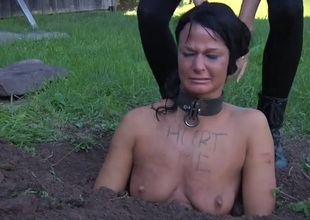 Collared girl buried in chum around with annoy dirt and humiliated
