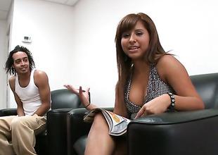 Topless Jade Kennedy gives handjob rooftop