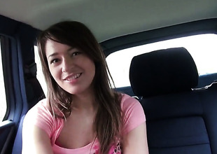 Amateur Anastasia in Heraldry sinister panties shows her hole up citrusy in a car