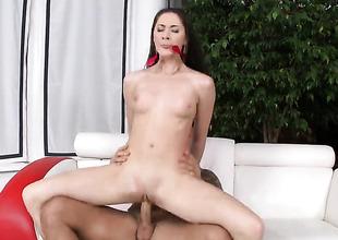 Brunette chick receives her twat drilled steadfast