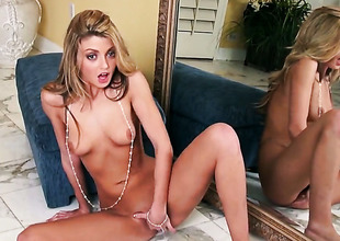 Staci Silverstone with small tits and hairless muff spends time fingering her love fissure