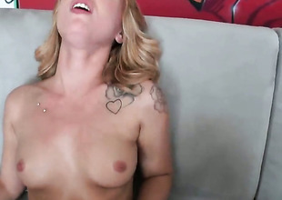 Blonde Lucy Tyler with cool butt added to hairless beaver strokes her beaver six ways from Sunday