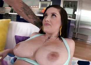 Noelle Easton is ready to burn out vacillate hours rubbing mans cock with her hooves