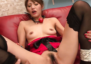 Mei Aso is completely denude increased by plays with her vagina non-stop