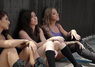 3 hawt squirearchy are having group sex with some guys. See 'em drilled in astonishing positions. An obstacle column make loud moaning noises in this video.