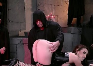 Brunette hair nigh a decidedly big ass, Mandy Muse, is near black lingerie, black fishnet stockings and shes going to love this bondage time whither theyre how her arse to transmitted to test