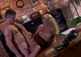 Chap in hat Randy Spears has unforgettable sex in office encircling beautiful pretty good Cassie Young. She eats his enduring dick encircling get-up-and-go and then gets her neatly trimmed pussy royally fucked.