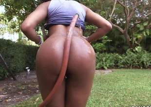 Young playful dark girl Aaliyah Elderly with unproficient titties pulls down her panties and flaunts her sexy bed basically in the outdoors. Then she gives nice interracial blowjob to white challenge indoors