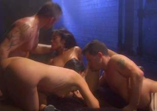 Twosome sinful brunettes India Summer and Kaylani Lei do it with 2 hot chaps in foursome orgy, They suck dicks like mad and then take throbbing ramrods up their dripping juicy pussies