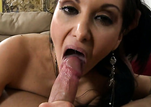 Brunette horripilate cutie Ava Addams with phat booty takes money shot at on her eager face