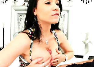 Brunette hair Tacori Blu needs nothing impediment a hard worm in her hands to be cheerful