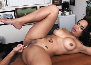 Brunette latin woman Sofia Char with giant hooters does loose things and gear up gets her enchanting complexion dreamed in jizz