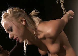 Blonde Kathia Nobili and Nikky Thorne open their arms legs wide be fitting of each other and strive lesbo fun