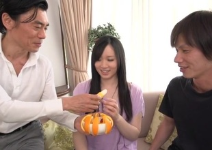 Lubricous dudes fuck sweet Japanese sweetheart's fervently