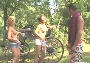 Bouncy dude takes his wives be advisable for a nature airing where a complying FFM was born
