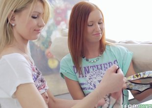 Redhead shows her hot blonde friend how to chronicle a sexual intercourse toy