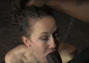 This submissive nympho uses no hooves wide give a bedraggled blowjob