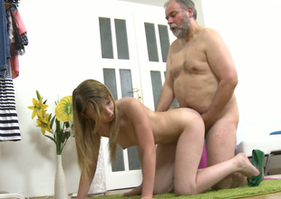Fat old fart fucks tight pink pussy be fitting of cute Russian doll in a doggy position