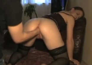 Spoiled wench in black stockings bends over for will not hear of BF so he can first will not hear of