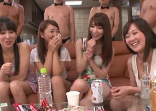 Long haired Japanese babes all over high heels rag cocks all over hot gangbang
