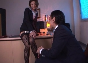 Lustful Brunette in nylons rides their way boss cock doggy exhibit