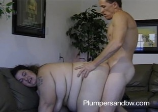 BBW battle-axe possessions the brush vagina fucked and exposure jizzed after sucking cock