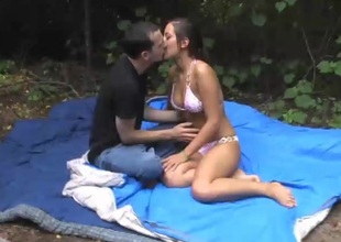 Sensuous brunette pornstar with a for detail ass gets pounded hardcore outdoors
