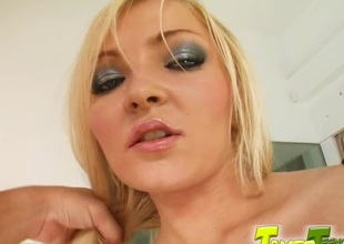 Lewd golden-haired Nicky A works on 2 boners and enjoys a DP
