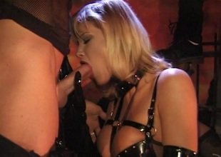 One guys added to a hawt flaxen-haired in fetish hardcore Ffm threesome