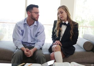 Her uniform comes wanting so she can cum on his unyielding schlong