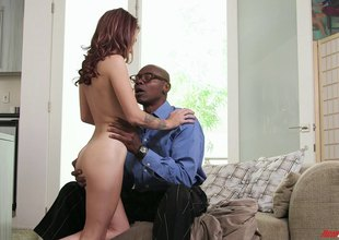 White bitch with na‹ve tits enjoys interracial coitus with BBC