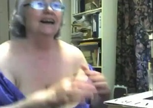 Crazy webcam solo with a chubby granny toying will not hear of meaty twat