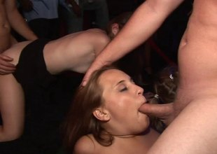 Horny cowgirls turn a cool diggings party into a alight fuckfest