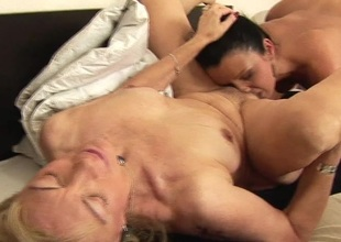 One hot younger slut getting 3 older pussies