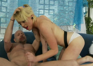 Enticing blond chick Miley May gets will not hear of shaved cunny group-fucked well